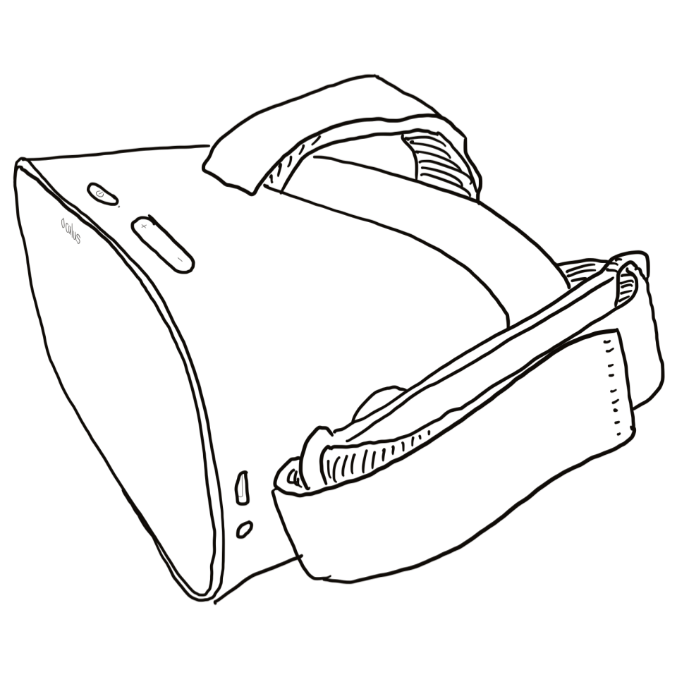 Line drawing of Oculus Go headset.