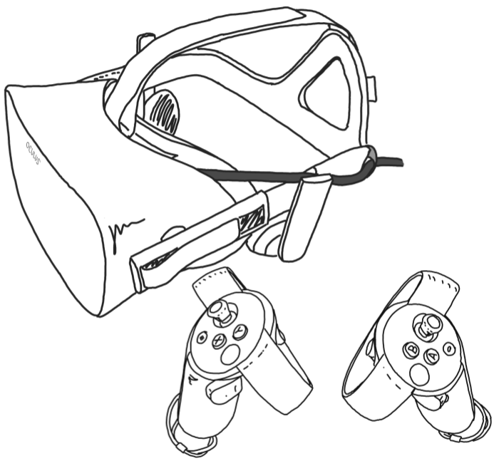 Line drawing of Oculus Rift headset and touch controllers