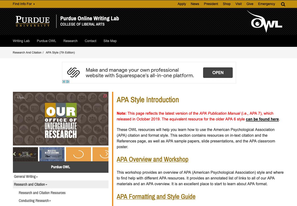 Purdue OWL APA Guide Homepage