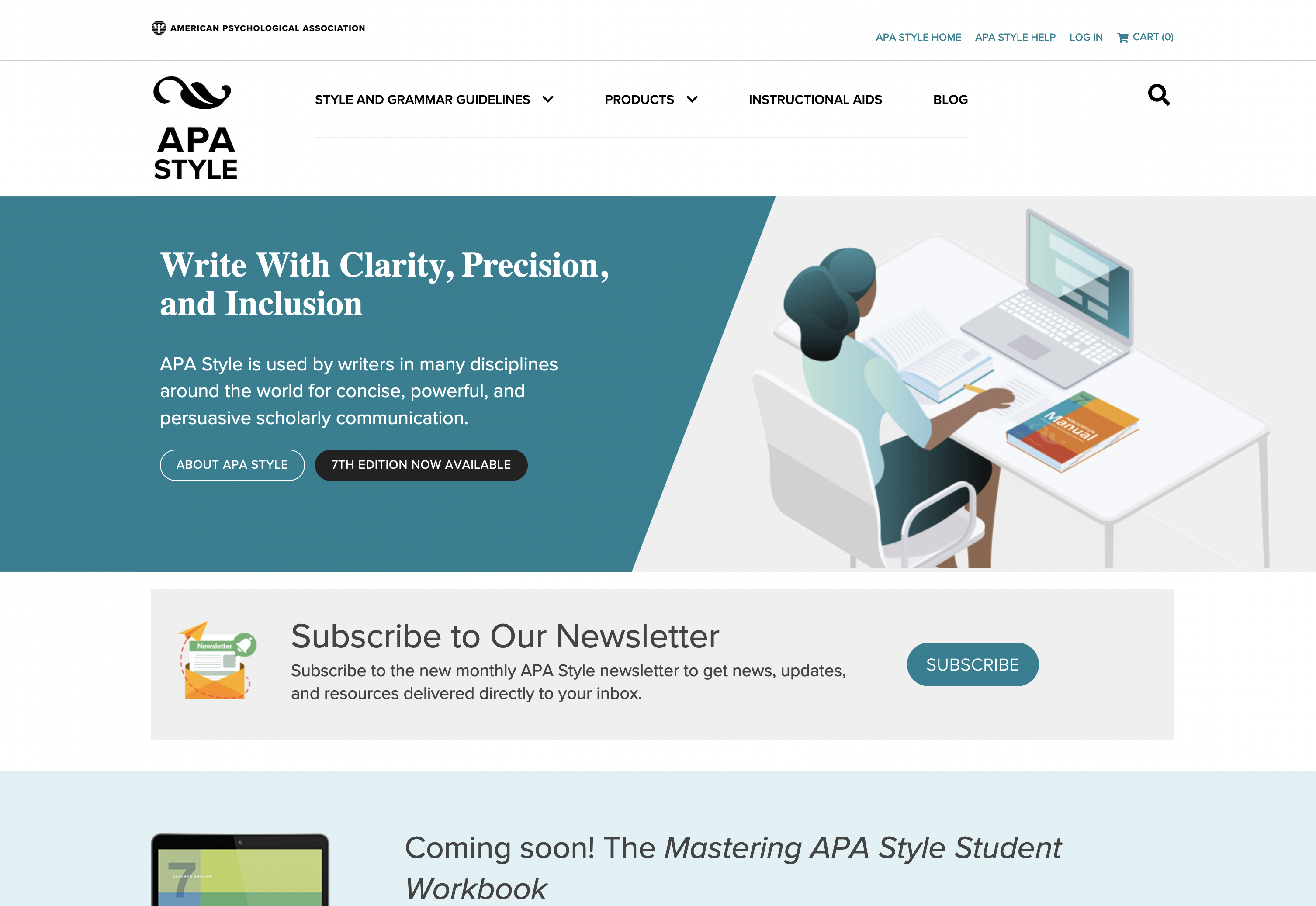 Screen shot of APA Style homepage with links to resources including style guides and information about APA style.