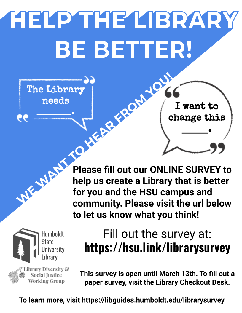 Promotional flyer for library survey (same information as on web page).