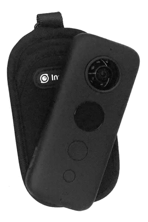 Close up photo of the Insta360 One X camera (rectangular black plastic with bubble lens on each side and circular lcd display) with neoprene black soft case.