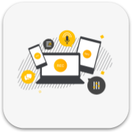 Spreaker desktop app logo: gray background with yellow and black icons of phone, tablet, laptop, mic, sliders