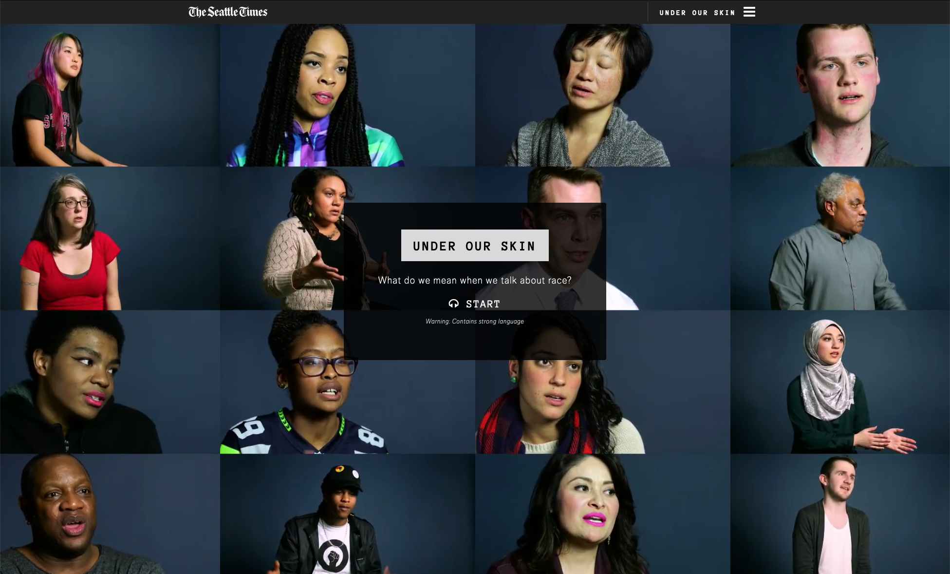 Composite image of 16 separate video interviews with people of varied racial and ethnic backgrounds.