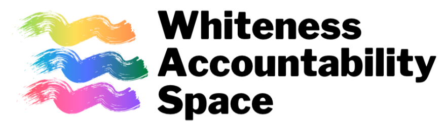 Whiteness accountability space logo with three rainbow-colored paint swatches