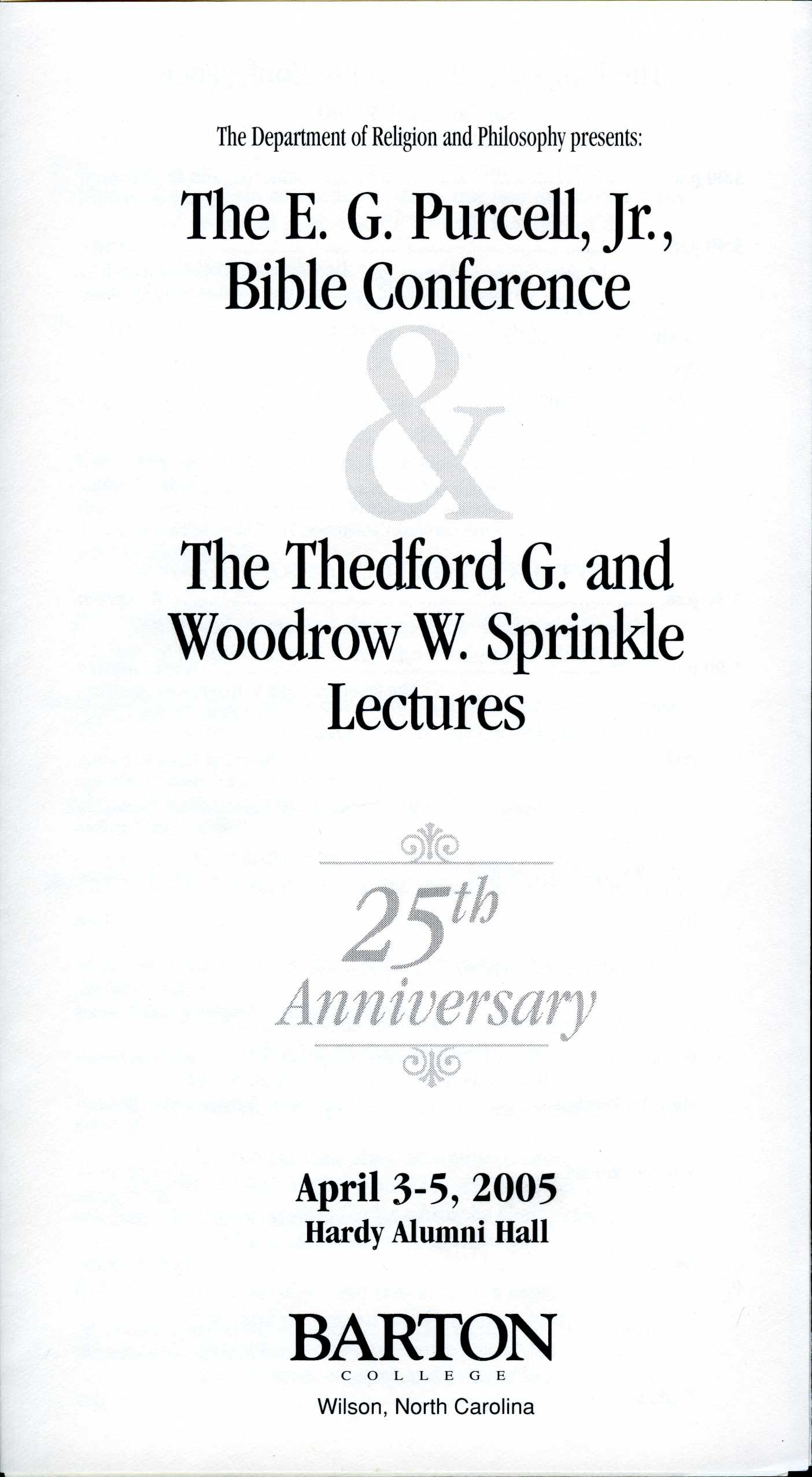 Purcell Bible Conference & Sprinkle Lectures