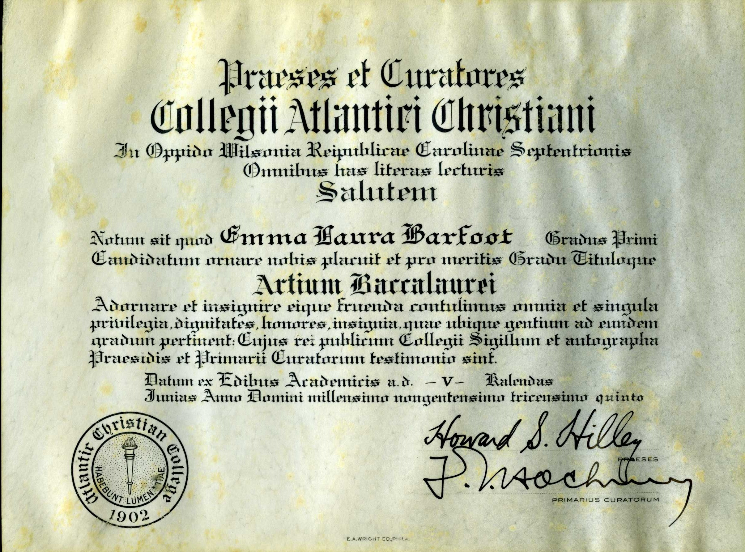 Miniature diploma of Emma Laura Barfoot, 1935