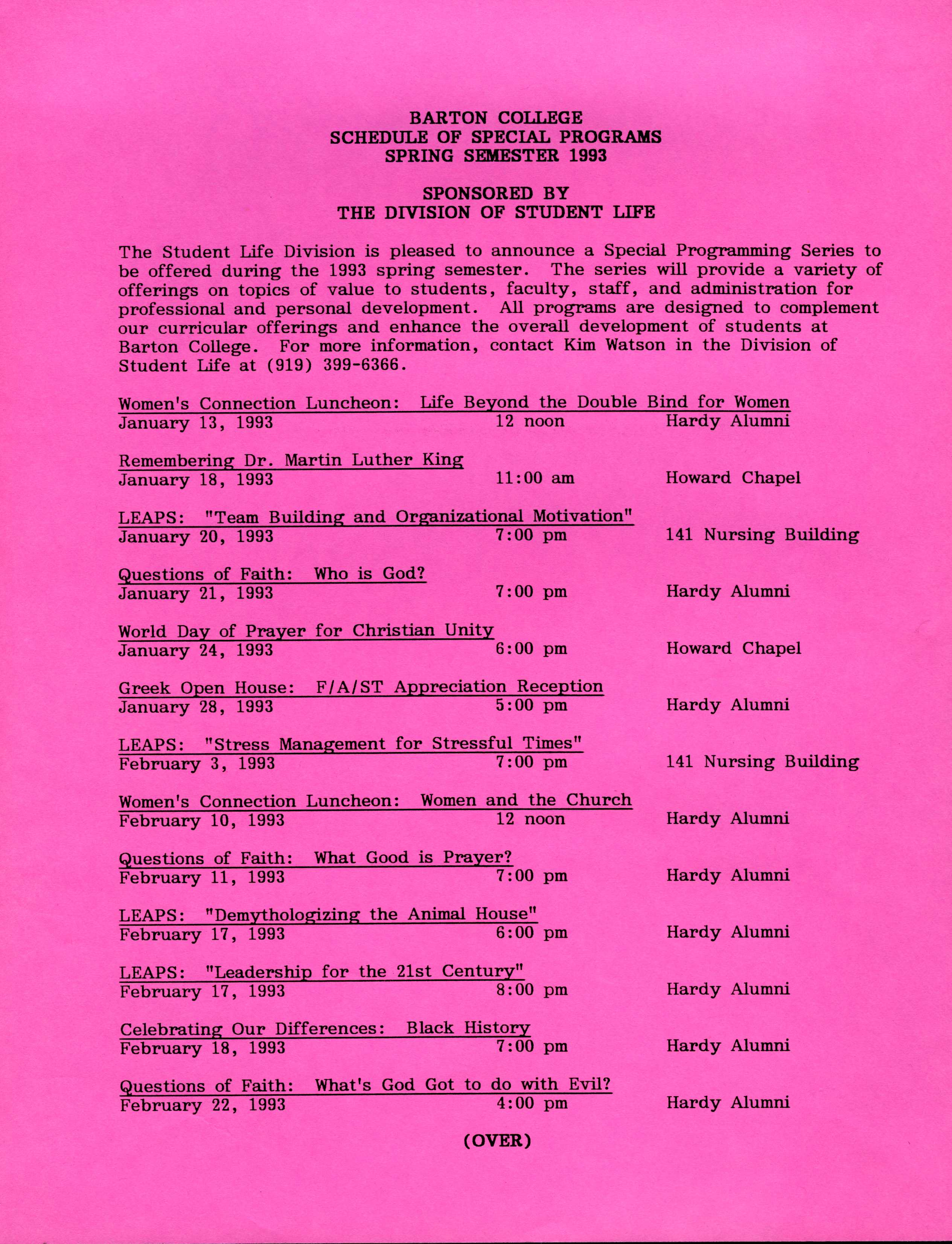 Barton College Schedule of Special Programs, 1993