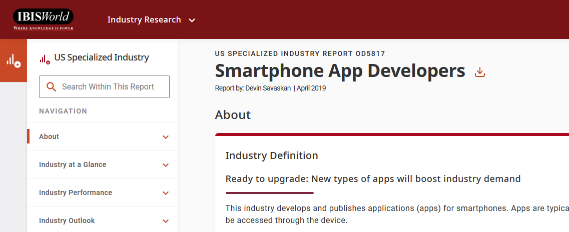 Screencapture of IBISWorld Smartphone App Developers Report