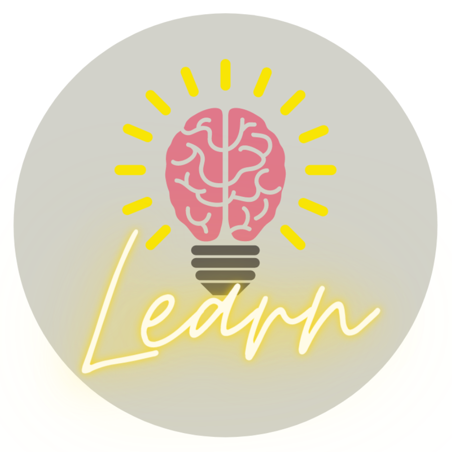 Image of a lightbulb glowing, above the word Learn