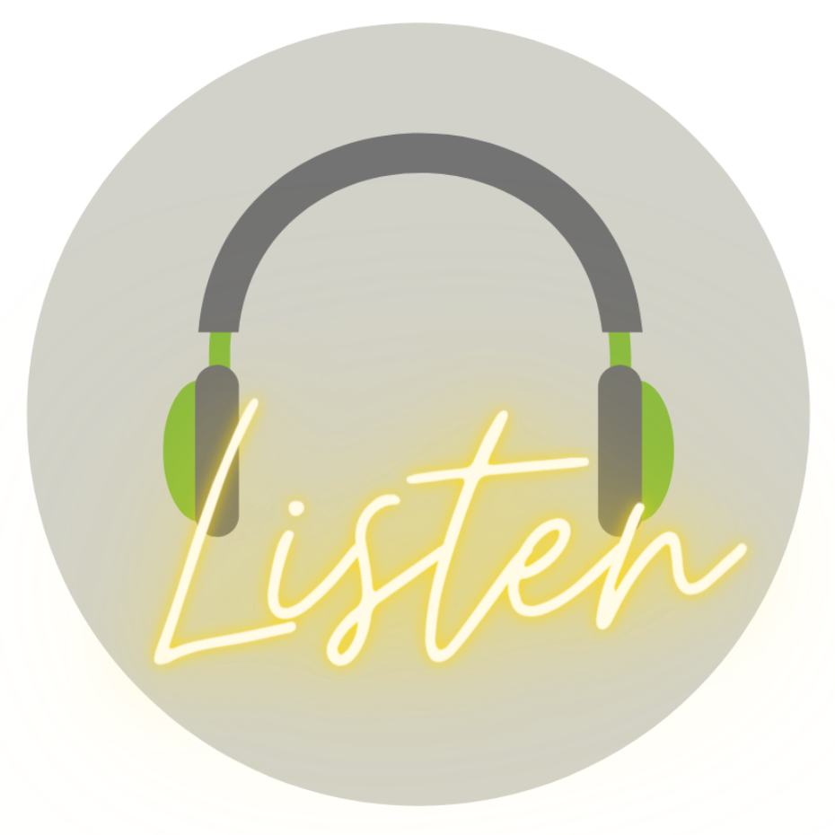 Logo of headphones over the word Listen
