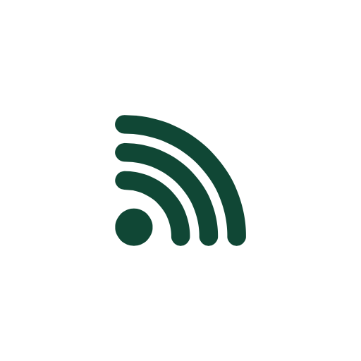 Green clip art icon of a dot and three curved lines depicting a sound broadcast
