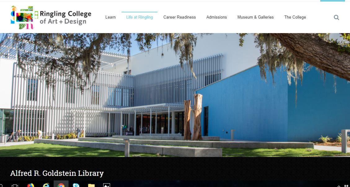 Ringling College of Art + Design Library Landing Page