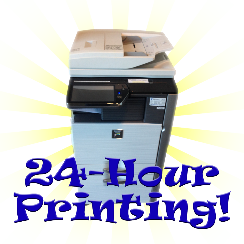 "Printer with starburst graphic and the words ""24 Hour Printing"""