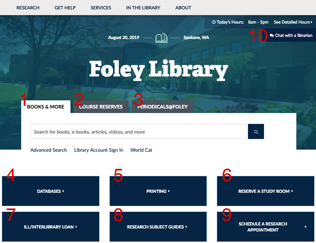 Screenshot of the Foley website, showing the buttons listed below