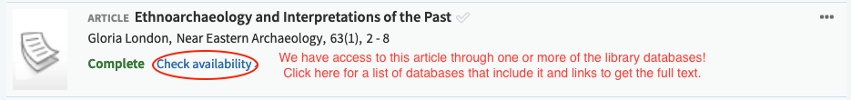 Check availability means we have access to this article through one or more of the library databases! Click here for a list of databases that include it and links to get the full text.