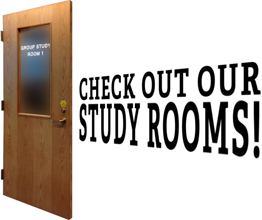 Study room door with text emerging from it reading: Check out our study rooms!