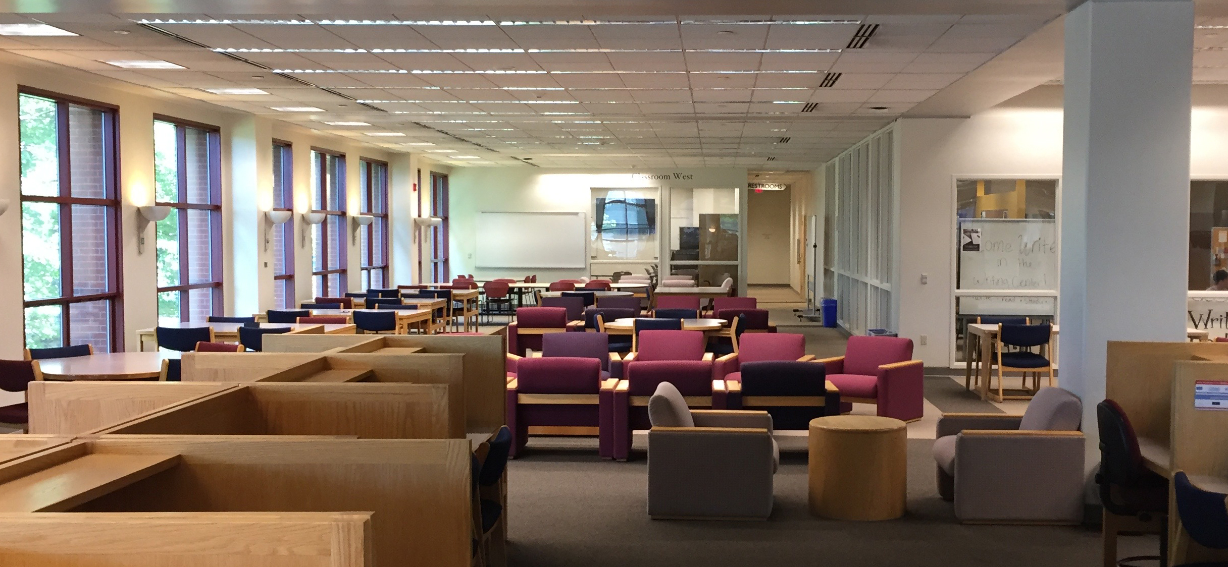Some of the library's study spaces