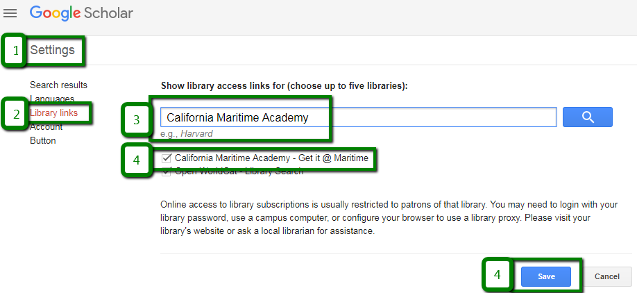 Connect Google Scholar to Library Links