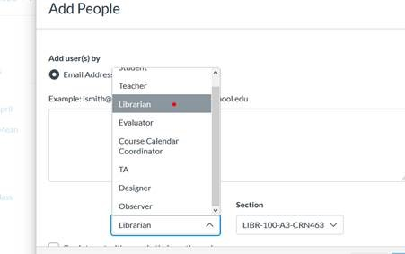 screenshot of how to add a person into Canvas shell under the Librarian role