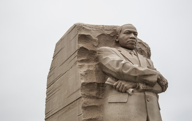 Martin Luther King Jr. carved in relief, The Stone of Hope at the Martin Luther King, Jr. Memorial