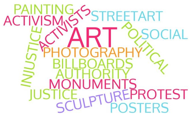 Protest art word cloud