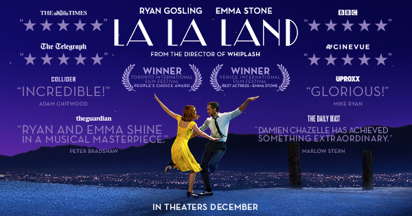 A man and woman dancing under the stars, La La Land movie ad