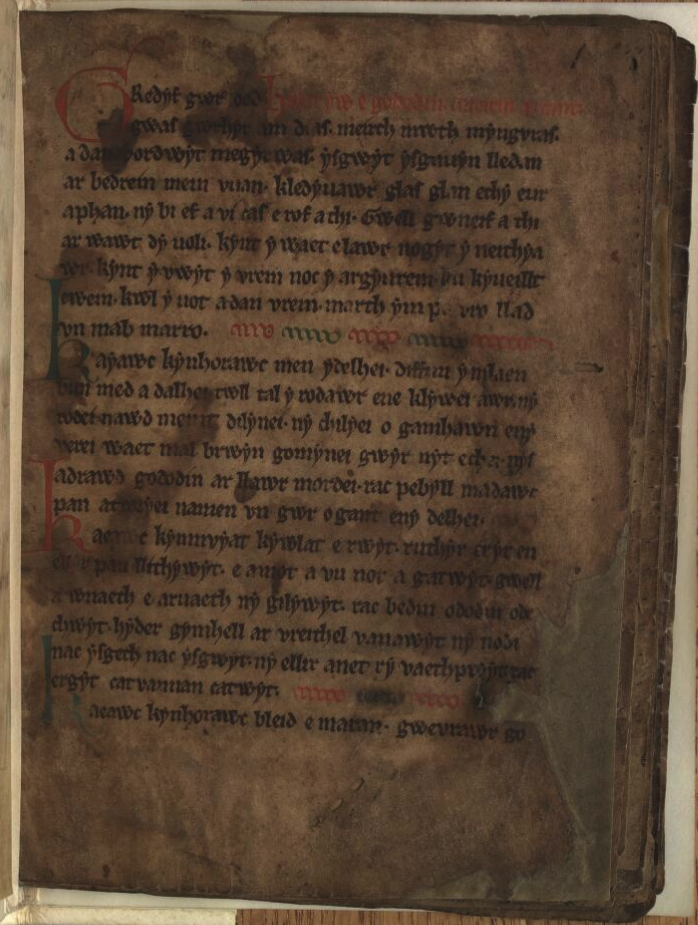 The Book of Aneirin, containing the poem The Gododdin, the earliest known reference to Arthur