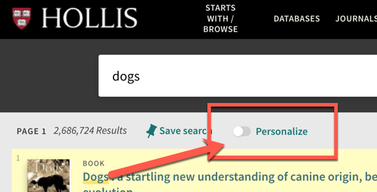 "screenshot of the ""personalize"" search refinement option in the HOLLIS catalog"