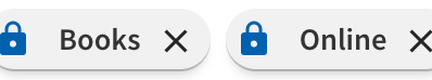 icons for book and online access filters, in locked position