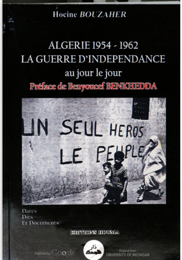cover of book of primary sources from the catalog in re: war of independence in algeria