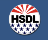 HSGL icon red white blue of flag on blue background