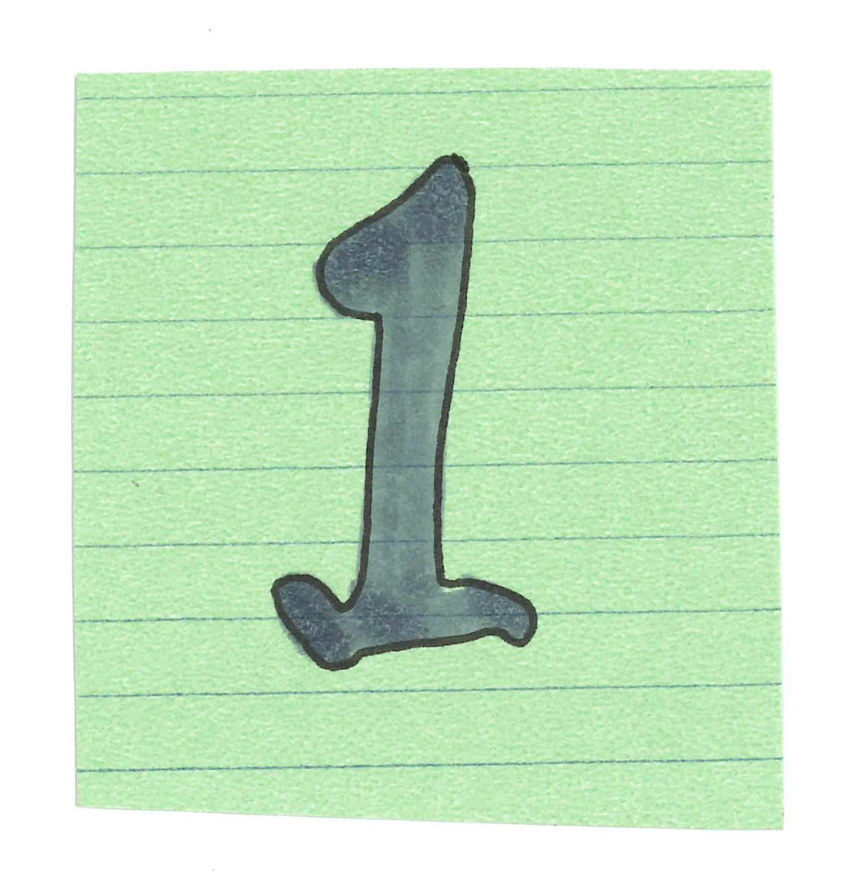 The Number 1, Handwritten on a Green Index Card