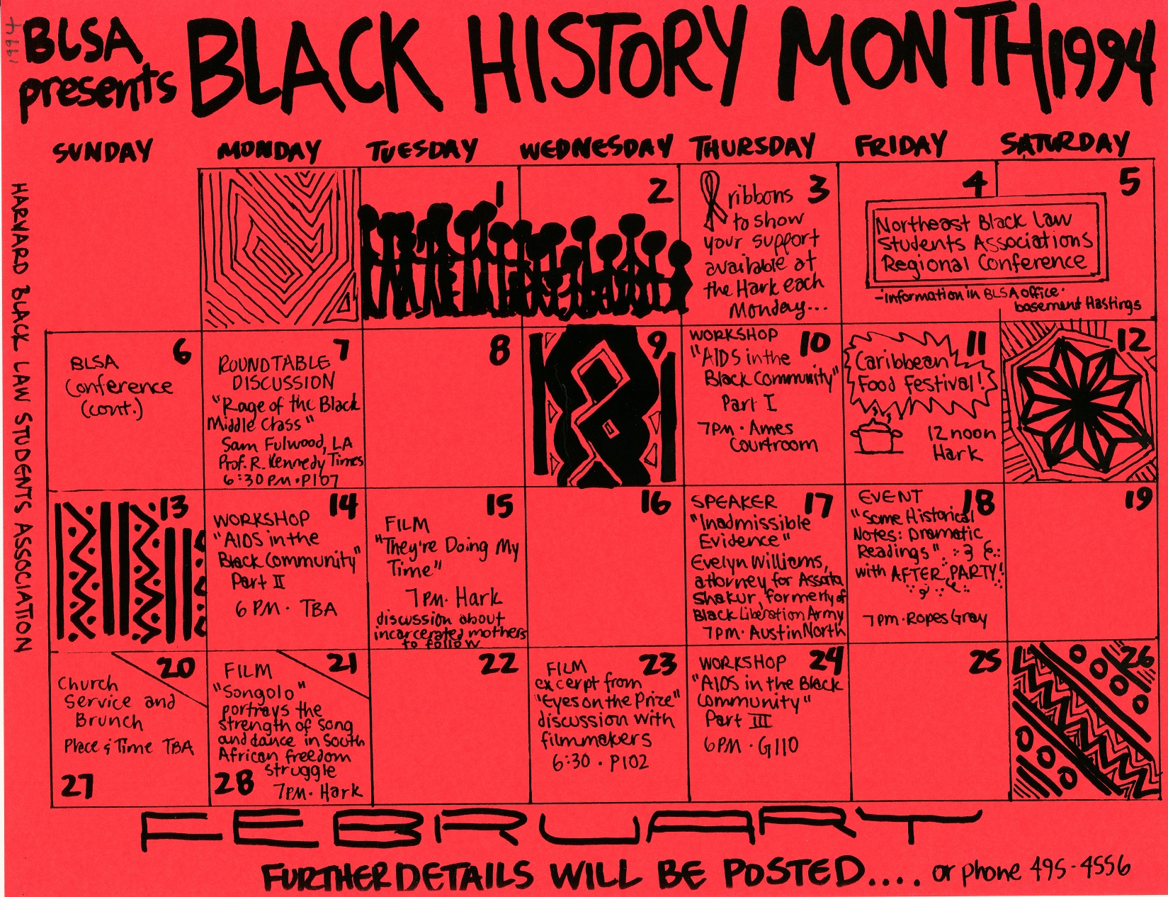 HLS Black Law Students Association Black History Month Event Calendar, 1994