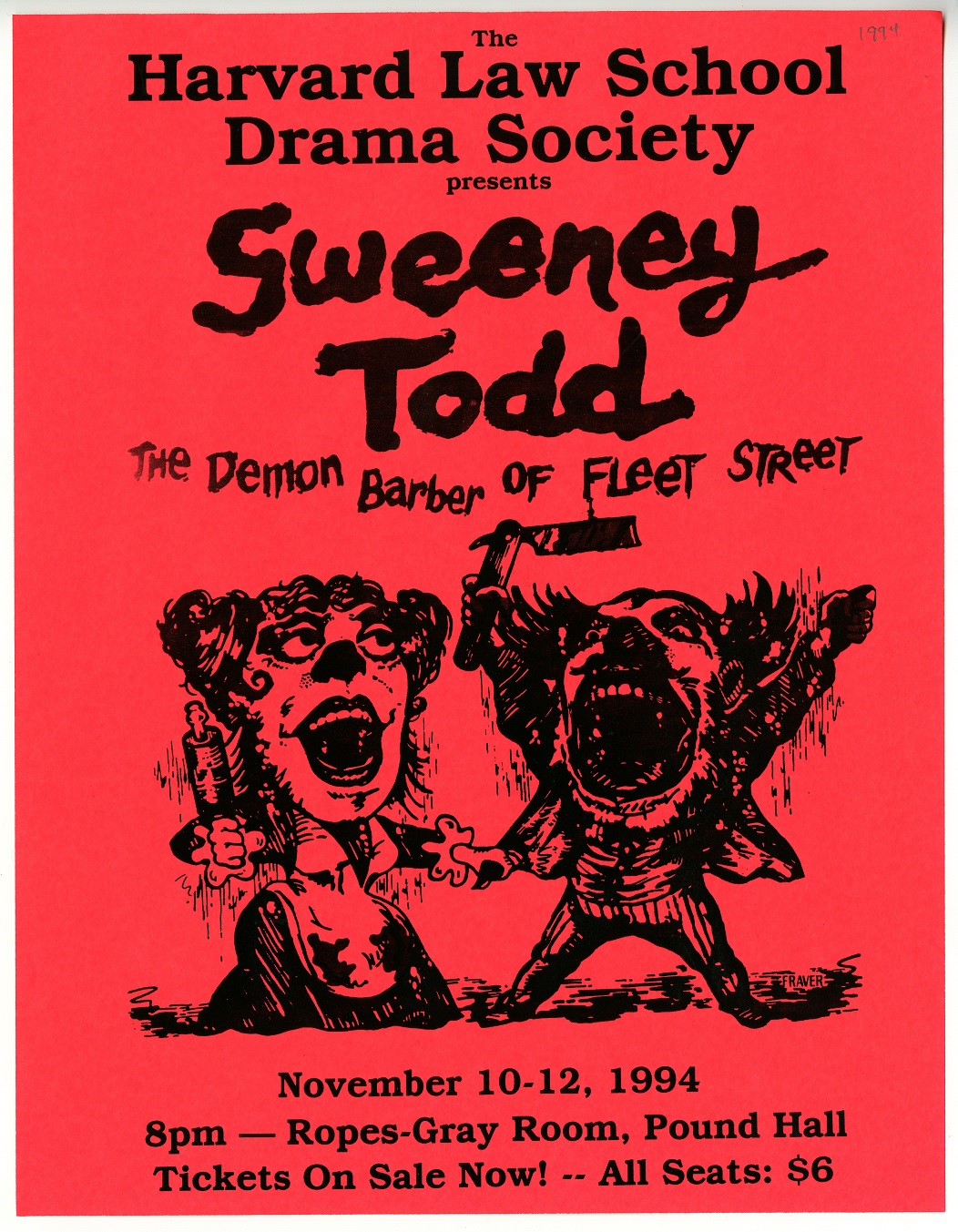Sweeny Todd Flyer; 1994; Harvard Law School Ephemera Collection