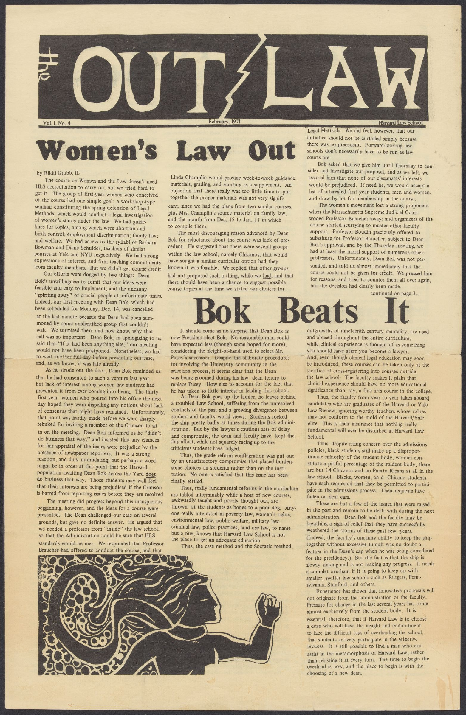 The Outlaw, v. 1, n. 4, February 1971 published by the Outlaw Collective at the Harvard Law School