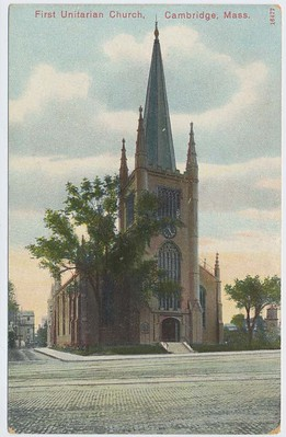 Postcard of First Unitarian Church, Cambridge Mass.