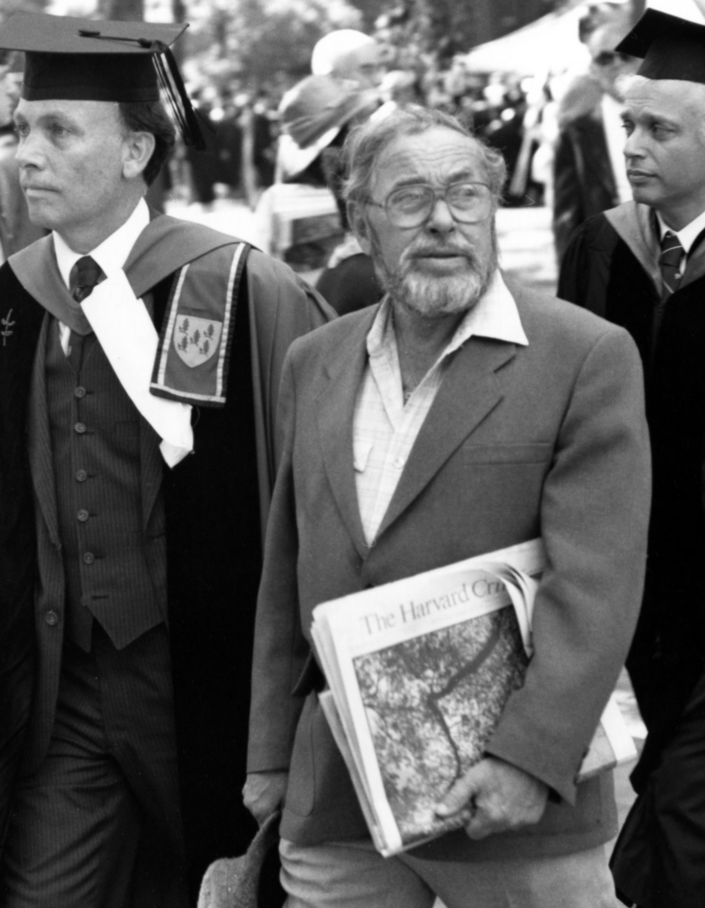 TENNESSEE WILLIAMS DURING COMMENCEMENT EXERCISES AT HARVARD, 1982. PHOTOGRAPH BY RICK STAFFORD