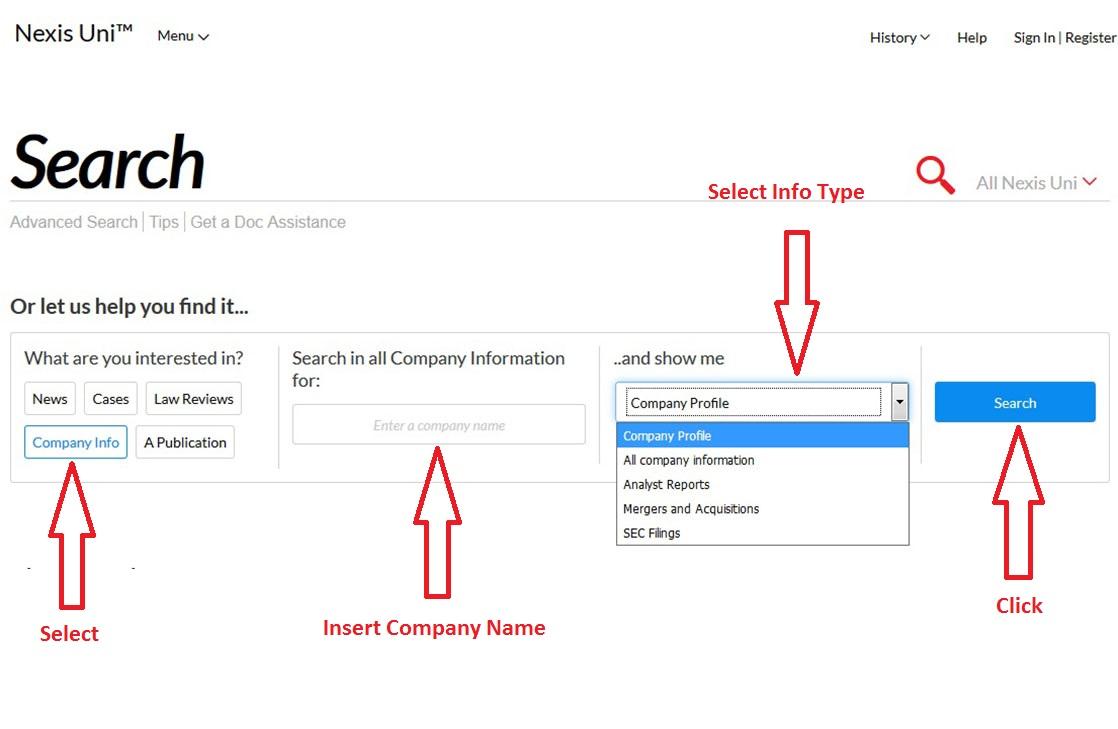 Nexis Uni screenshot for Company Information
