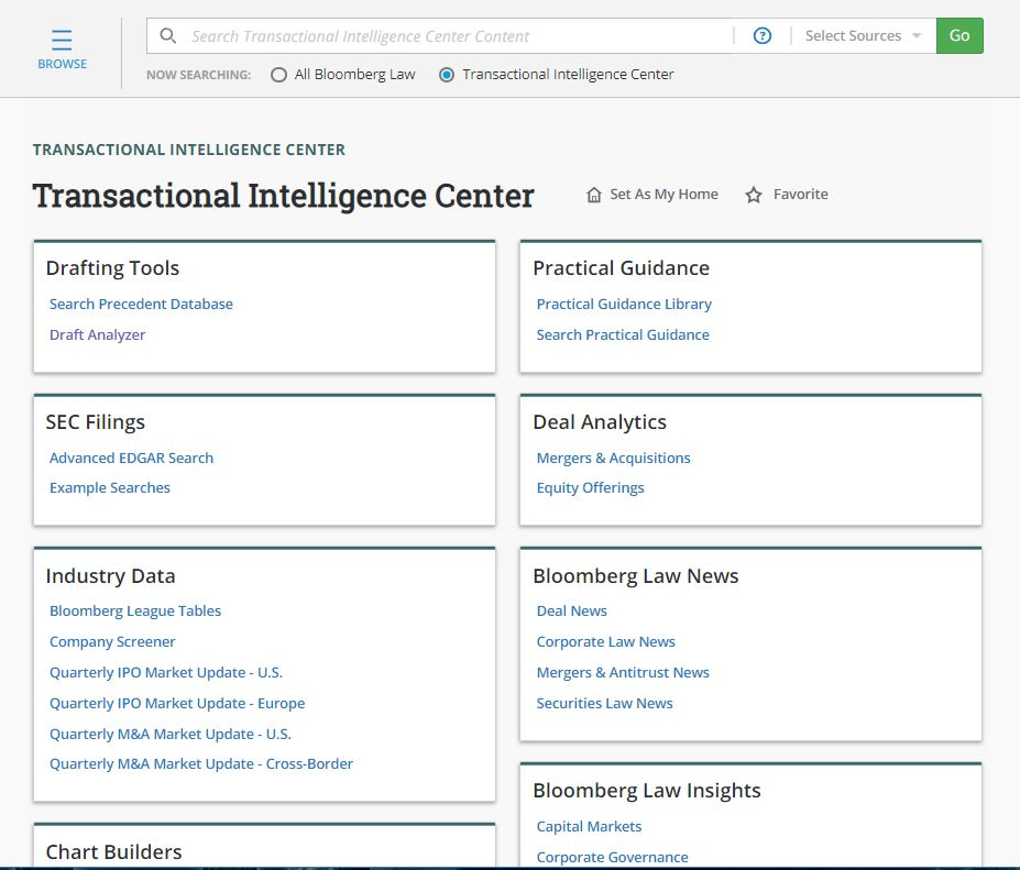 Bloomberg Law's Transactional Intelligence Center