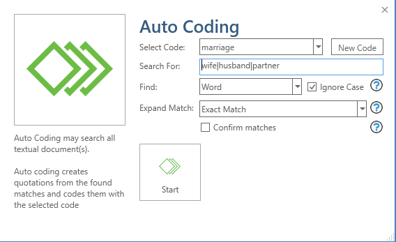 auto coding dialog box, select code, search for, find word, expand match to exact match, confirm matches check box unchecked