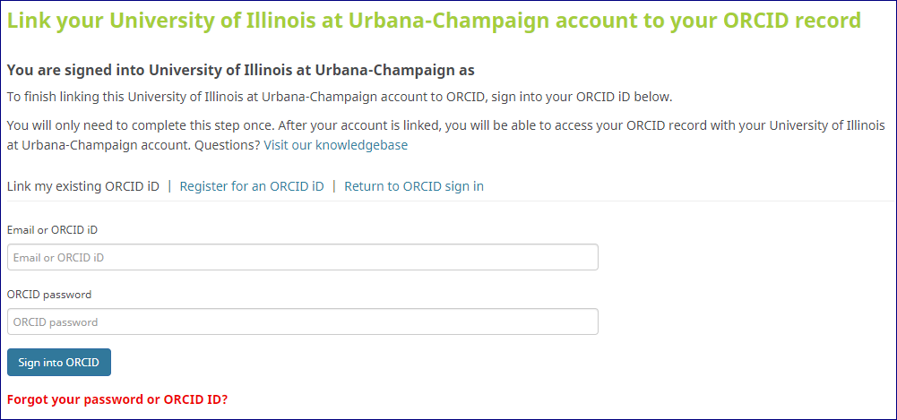 screenshot of linking your UIUC account to your ORCID record