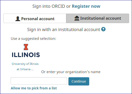 screenshot of logging in, choosing institutional account