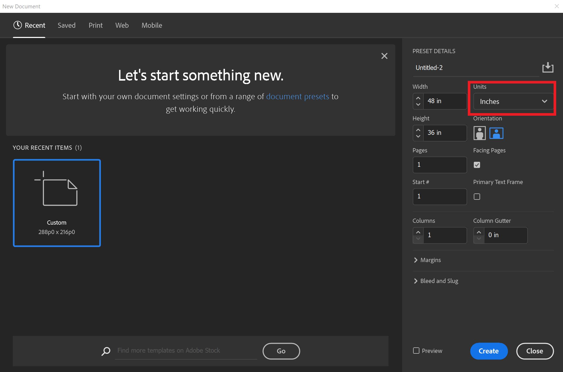 screenshot of Adobe InDesign create a document menu