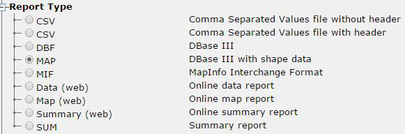 "A screen capture of the ""Report Type"" drop down menu. The options are as follows: CSV (Comma Separated Values File without header), CSV (Comma Separated Values file with header), DBF (DBase III), Map (DBase III with shape file), MIF (MapInfo Interchange Format), Data (web) (Online data report), Map (web)(Online map report), Summary (web)(Online summary report), SUM (Summary report). MAP is selected."