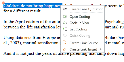 highlighted text with right click menu open, options create free quotation, open coding, code in vivo, list coding, quick coding (grayed out), create link source, create link target