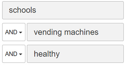 """Example of a database search terms. The first box contains the word """"schools"""". The second box contains the term """"vending machines"""". The last box contains the word """"healthy""""."""