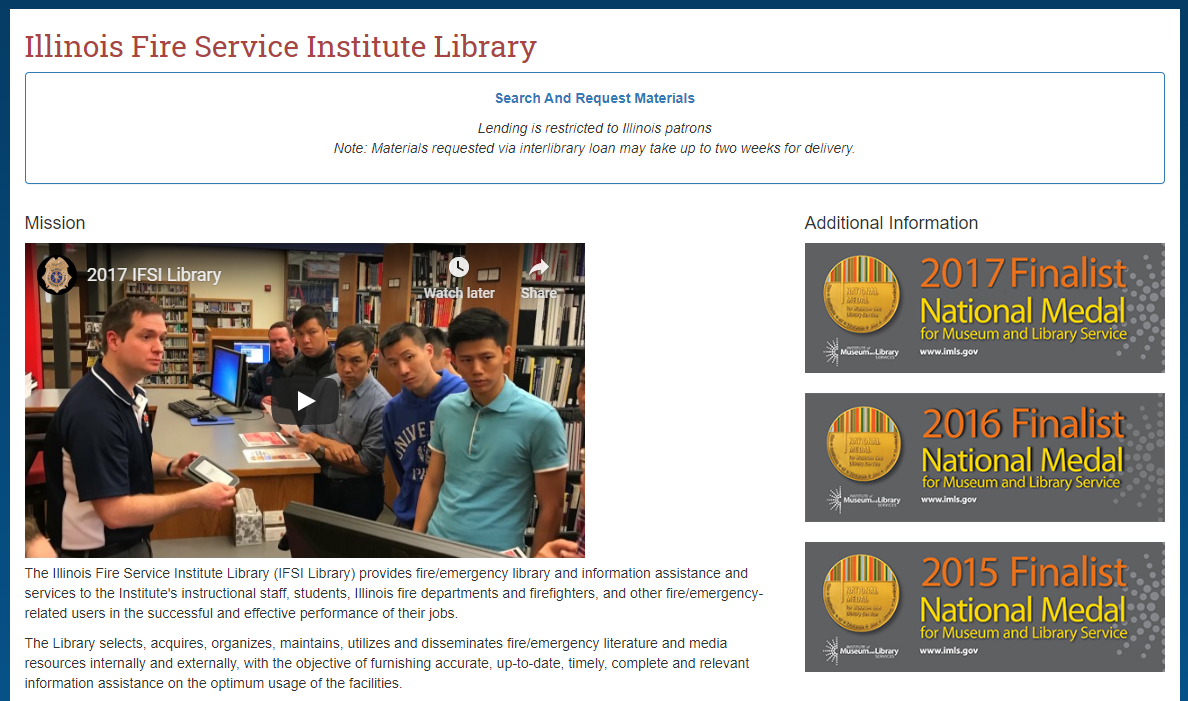 A screenshot of the IFSI Library webpage.