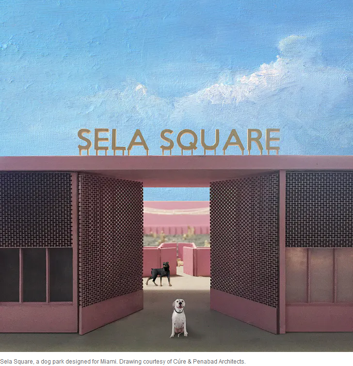 A rendering of Sela Square, a dog park for Miami, designed by Cure and Penabad architects
