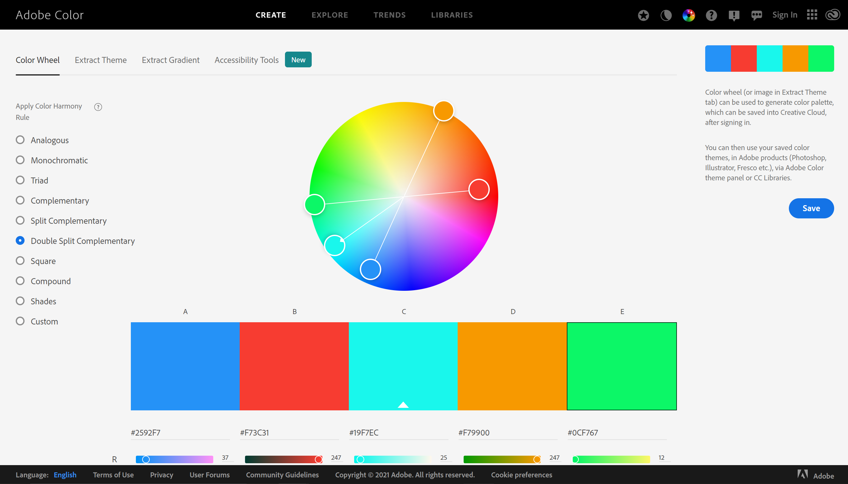 adobe color webpage with an interactive color wheel